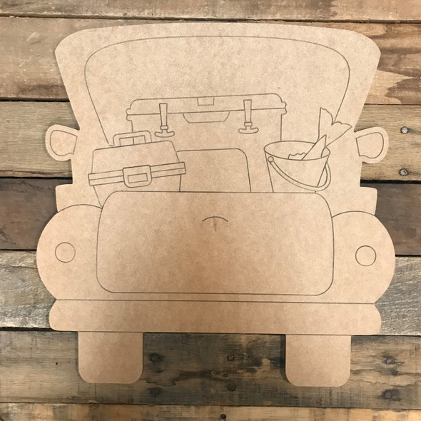 Fishing Truck, Unfinished Wood Cutout, Paint by Line
