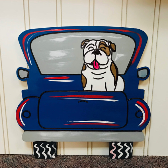 Bulldog Truck, Unfinished Craft, Paint by Line