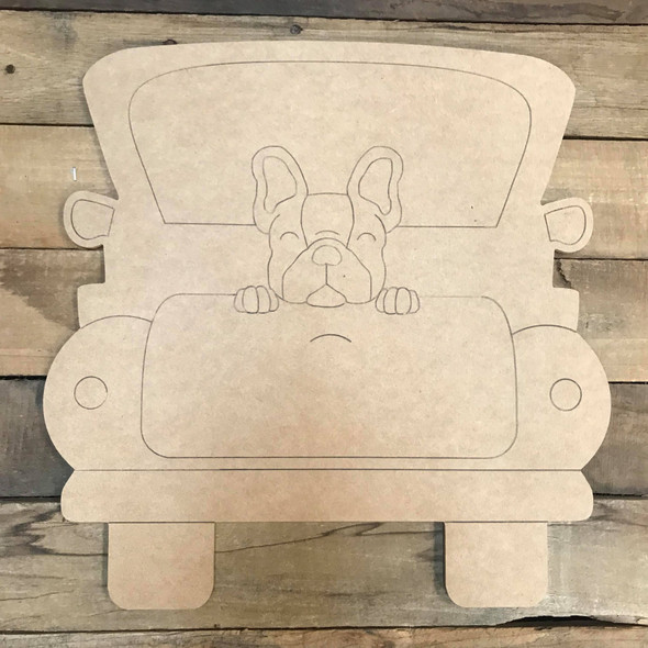 English Bulldog Truck, Unfinished Craft, Paint by Line