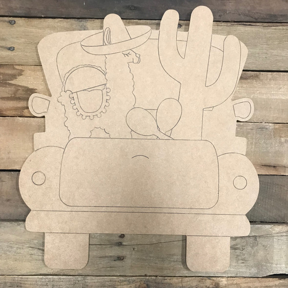 Fiesta Truck, Unfinished Wood Cutout, Paint by Line