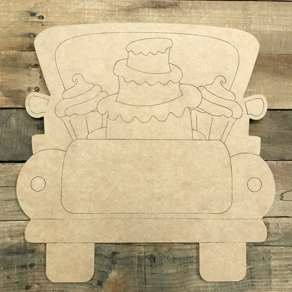 Cake Truck, Wooden Paintable Unfinished Craft, Paint by Line