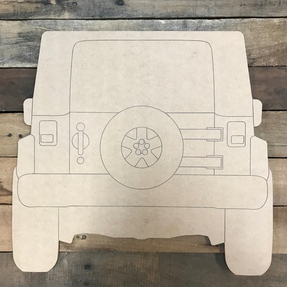 Back of Jeep Wood Cutout, Unfinished Craft, Paint by Line