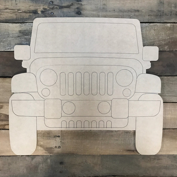 Front of Jeep Wood Cutout, Unfinished Craft, Paint by Line
