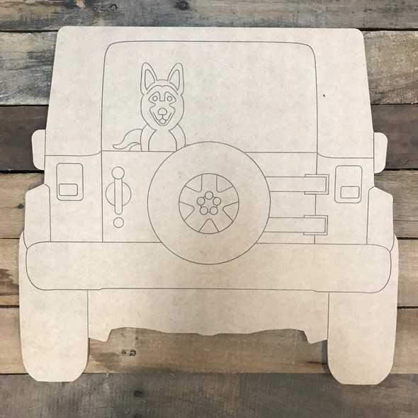 Jeep with German Shepherd Cutout, Unfinished Craft, Paint by Line