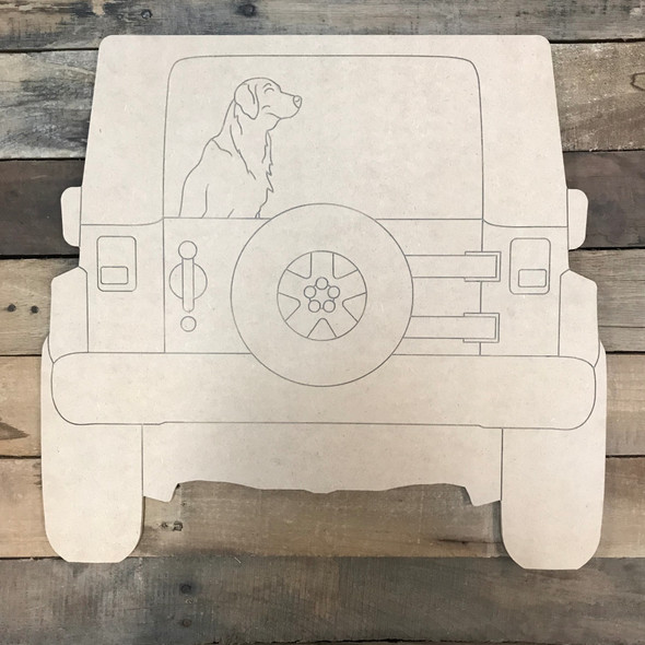Jeep with Lab Cutout, Unfinished Craft, Paint by Line
