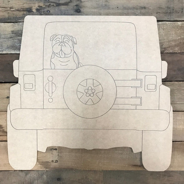 Jeep with Bulldog Cutout, Unfinished Craft, Paint by Line
