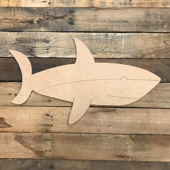 Shark Cutout, Unfinished Craft, Paint by Line