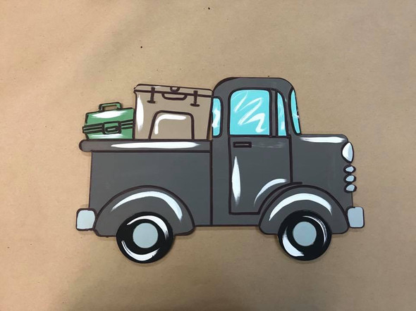 Old Style Truck with Tackle Boxes, Unfinished Craft, Paint by Line