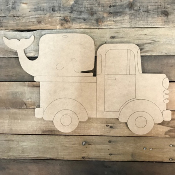 Old Style Truck with Whale, Unfinished Craft, Paint by Line