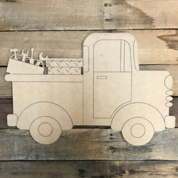 Truck with Tools Cutout, Unfinished Craft, Paint by Line