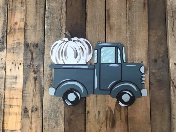 Old Style Truck with Pumpkin Cutout, Unfinished Craft, Paint by Line