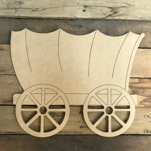 Wagon Cutout, Unfinished Craft, Paint by Line
