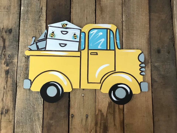 Truck with Bee Box Cutout, Unfinished, Paint by Line