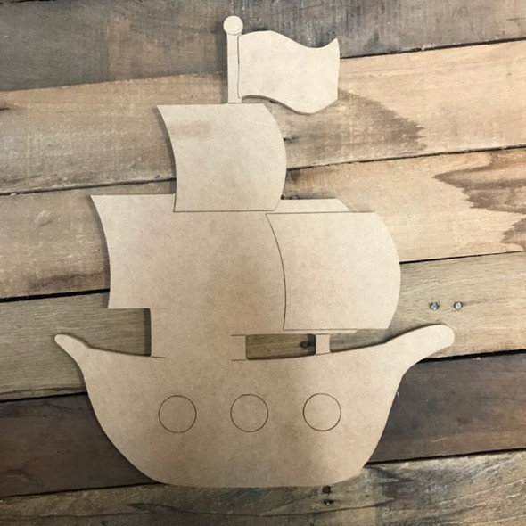 Kids Sail Boat Cutout, Unfinished, Paint by Line