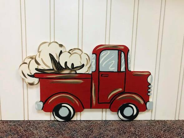 Old Style Cotton Truck Cutout, Wooden Paintable, Paint by Line