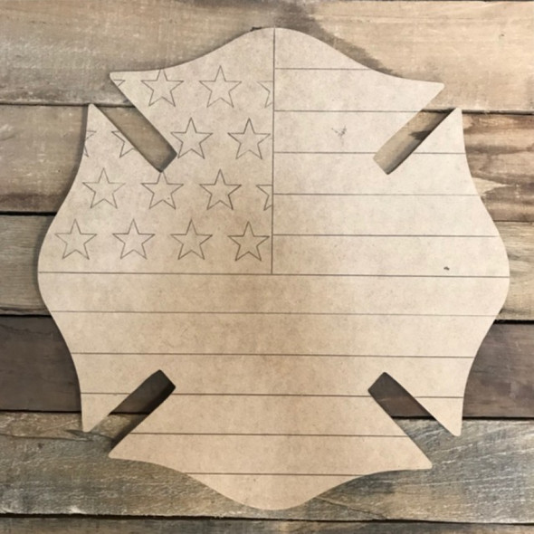 Fireman American Flag Badge Cutout, Wooden Paintable, Paint by Line