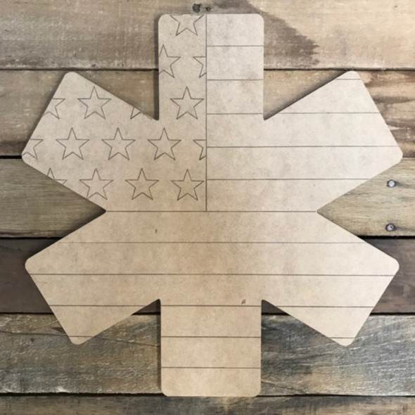 Star or Life American Flag Badge Cutout, Wooden Paintable, Paint by Line