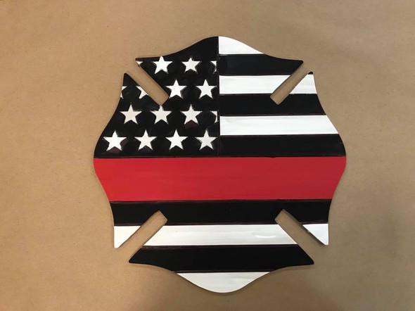 Blue Line Fireman  Badge Cutout, Wooden Paintable, Paint by Line
