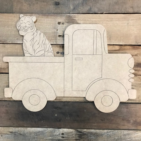 Old Style Truck with Tiger Cutout, Wooden Paintable, Paint by Line
