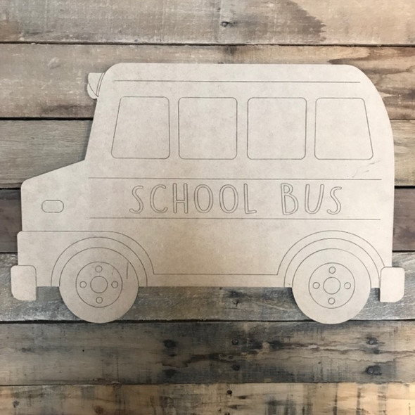 School Bus Cutout, Wooden Paintable, Paint by Line