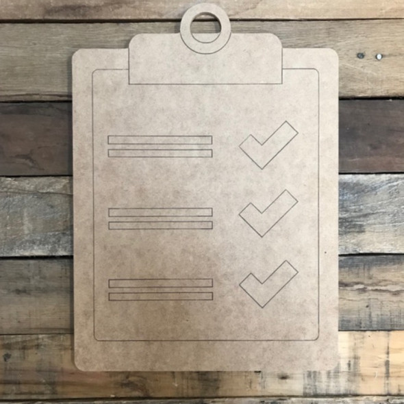 Clipboard Checklist Cutout, Unfinished, Paint by Line