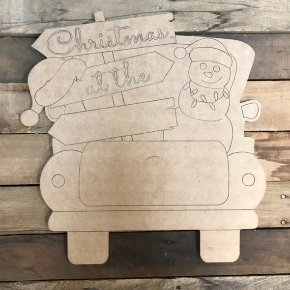 Coastal Christmas Truck Cutout, Wooden Shape, Paint by Line