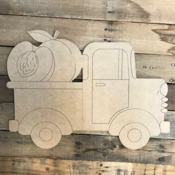 Peach Truck Cutout, Unfinished Shape, Paint by Line