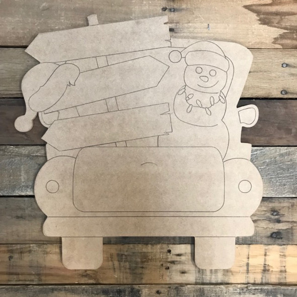 Blank Christmas Truck Cutout, Unfinished Shape, Paint by Line