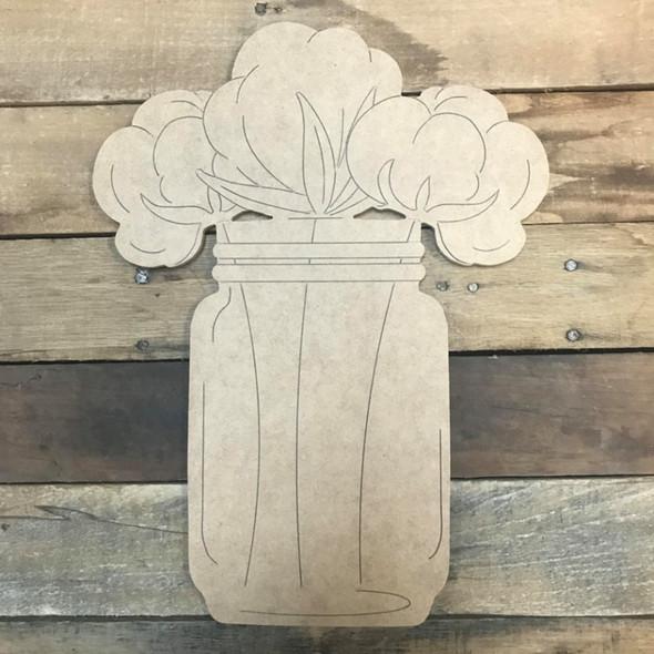 Cotton Jar Cutout, Unfinished Shape, Paint by Line