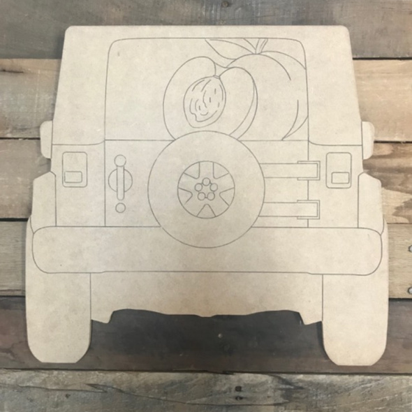 Peach Jeep Cutout, Unfinished Shape, Paint by Line