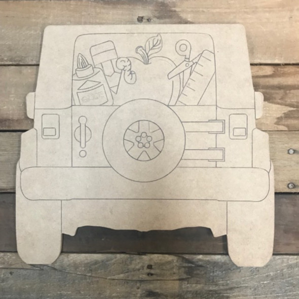 School Jeep Cutout, Wooden Shape, Paint by Line