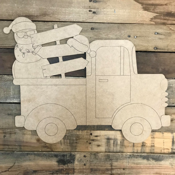 Coastal Christmas Blank Sign Truck Cutout, Wooden Shape, Paint by Line
