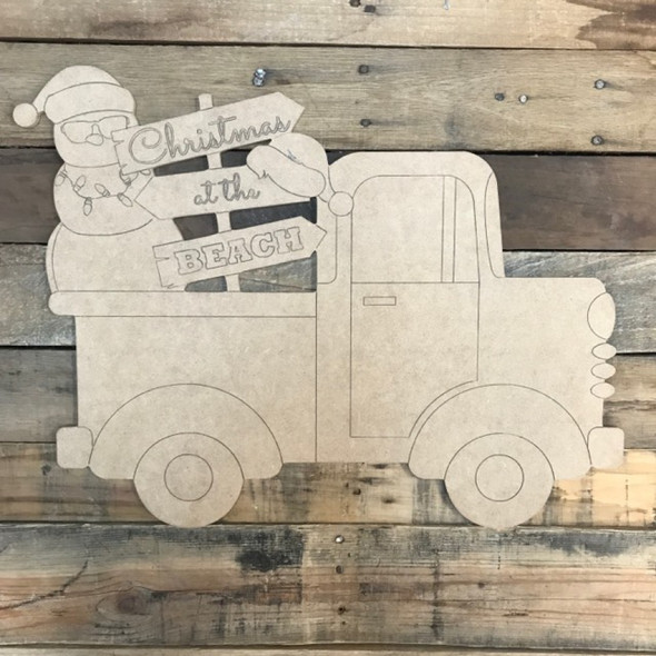 Coastal Christmas Beach Sign Truck Cutout, Wooden Shape, Paint by Line