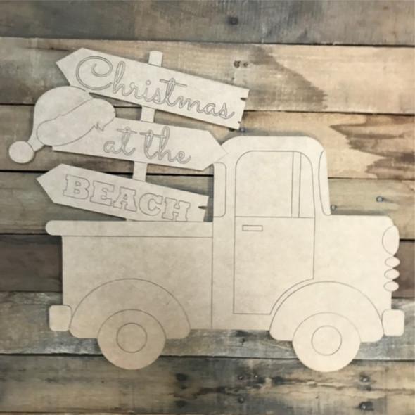 Christmas Beach Hat Blank Sign Truck Cutout, Wood Shape, Paint by Line
