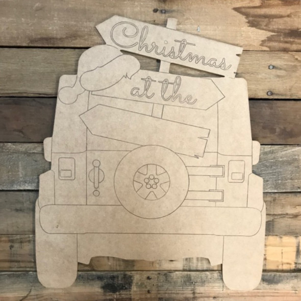 Christmas Blank Hat Sign Jeep Cutout, Wood Shape, Paint by Line