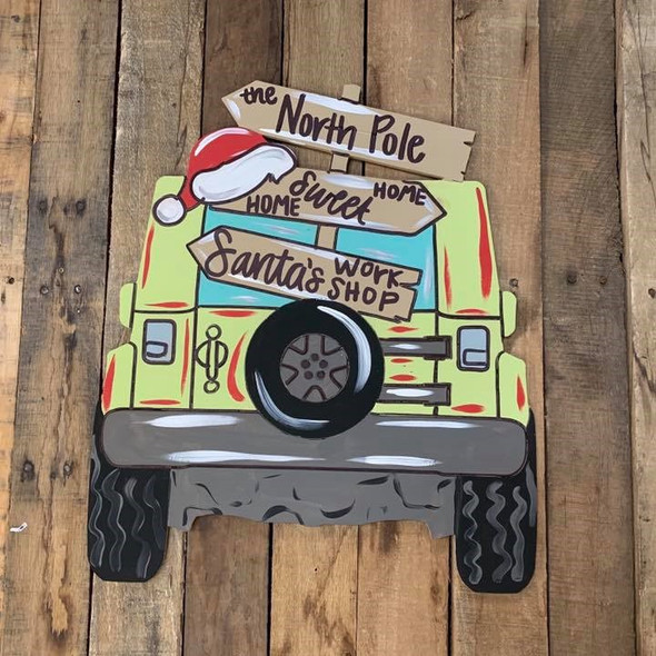 Jeep with Blank Christmas Sign Cutout, Wood Shape, Paint by Line