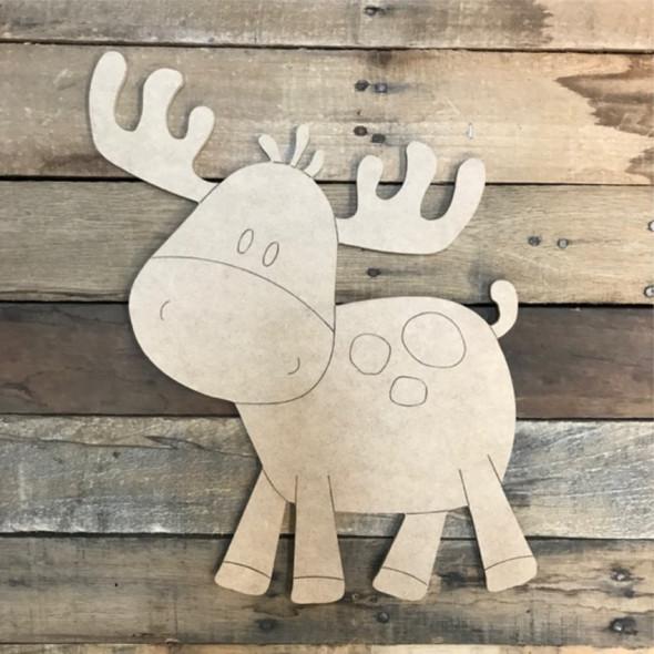 Cartoon Moose Cutout, Unfinished Shape, Paint by Line
