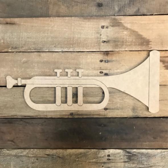 Trumpet Cutout, Unfinished Shape, Paint by Line