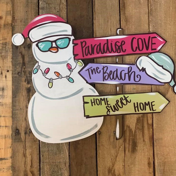 Christmas Snowman Hat Blank Sign Cutout, Wood Shape, Paint by Line