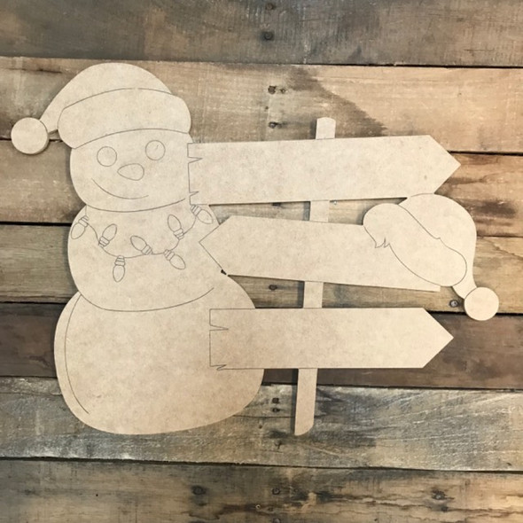 Christmas Snowman Blank Sign Cutout, Wood Shape, Paint by Line