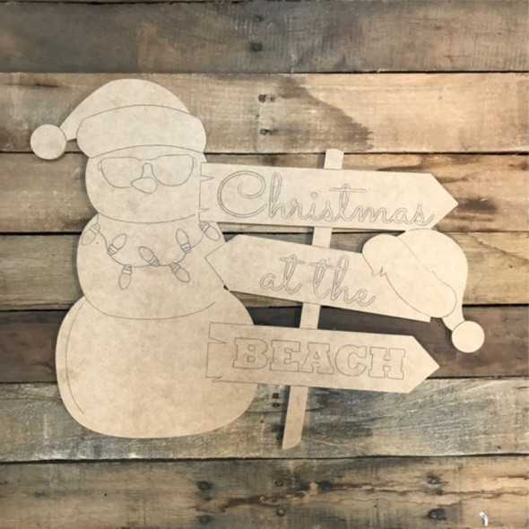 Christmas Snowman at the Beach Sign Wood Shape, Paint by Line