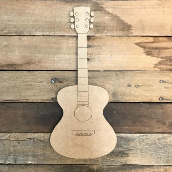 Acoustic Guitar Cutout, Wood Shape, Paint by Line