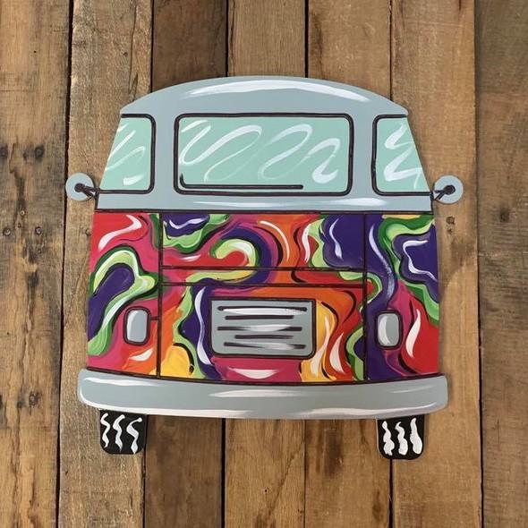 Groovy Traveling Van Cutout, Wood Shape, Paint by Line