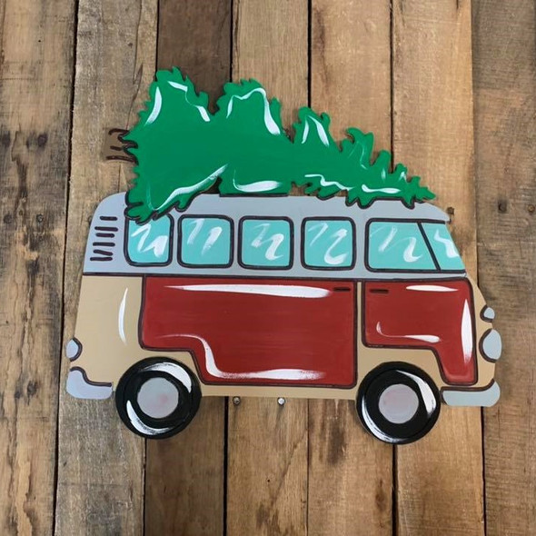 Retro Van with Christmas Tree Cutout, Unfinished Shape, Paint by Line