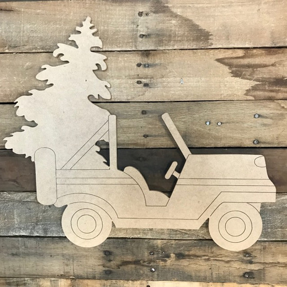 Jeep with Christmas Tree Cutout, Unfinished Shape, Paint by Line