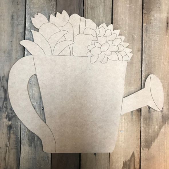 Succulent Watering Can Cutout, Wood Shape, Paint by Line