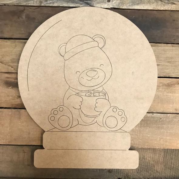 Teddy Bear Snow Globe Cutout, Wood Shape, Paint by Line