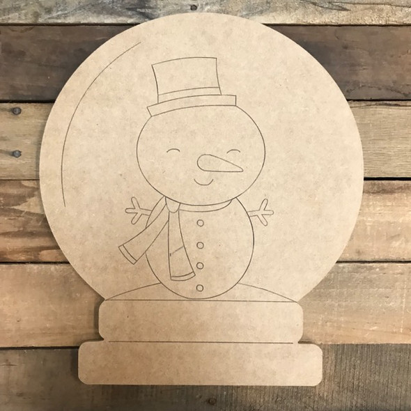 Snowman Snow Globe Cutout, Wood Shape, Paint by Line