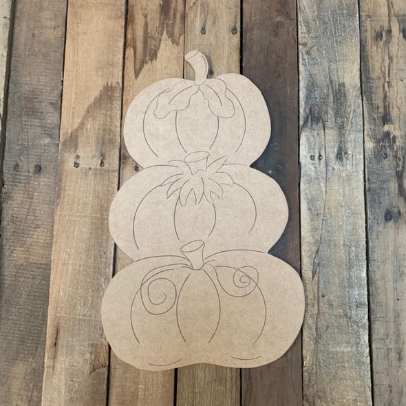 Triple Pumpkin Cutout, Unfinished Shape, Paint by Line