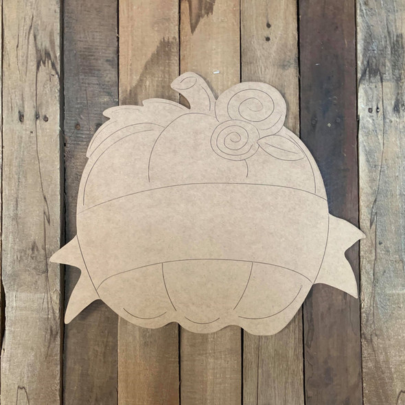 Pumpkin with Banner Cutout, Unfinished Shape, Paint by Line
